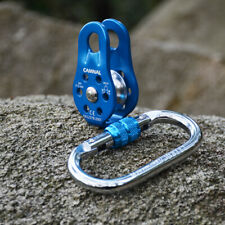 Fixed Single Pulley and Screwgate Locking Carabiner for Hauling Dragging Block