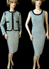 $2390 NWT ST JOHN Bamboo/Petal Black Trim Pockets Knit Dress Suit sz 12 USA made