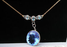 Huge Elegant 14k gold & Total 106+ carat Quartz & Diamond pendant necklace