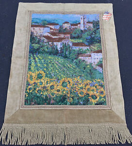 Provencal IV Italian Village & Sunflower Field Grande Tapestry Wall Hanging