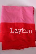 """New Pottery Barn PB Teen Essential Color Block throw blanket kids """"Layken"""" pink"""