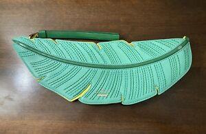 Kate Spade Flights of Fancy Banana Leaf Leather Green Clutch NWOT