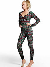 Victorias Secret PINK Fair Isle Long Jane Thermal Onesie Pajama MEDIUM Black