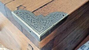 Pk of 4 Metal case corners antique bronze finish 50mm over straight C116