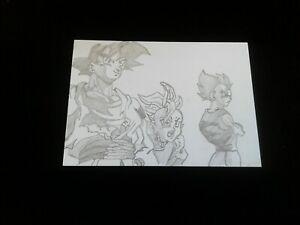 new GOKU SHIN VEGITA trading card pencil DRAWING DRAGON Ball Z ACEO anime art