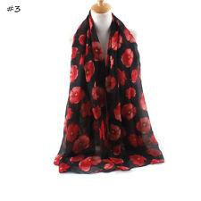 Ladies Womens Girls Fashion Scarf Black & Red Poppy Print Brand New