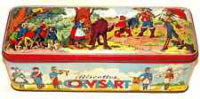French Fairy Tale Red Riding Hood Puss Boots Tom Thumb Biscuit Tin 1940s