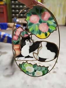 """Hand Painted Stained Glass (plastic) Oval Suncatcher CAT 3"""""""