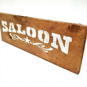 "Old West Distressed Primitive Country Wood Sign - Saloon Acorn Brown  5"" x 16"""