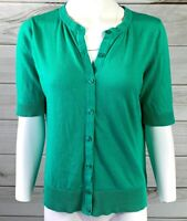 Merona Women's Mint Green Button Down Cardigan Sweater Sz Large 3/4 Sleeve A0116