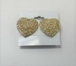 Gold Plated Rhinestone Crystal Heart CLIP ON Earrings  # 01164
