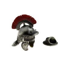 Roman Helmet with Red Plume Antique Finish Lapel Pin Badge - X2AJTP820