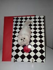 Vintage Hallmark Christmas Card Cat and red ornament Unused with envelope