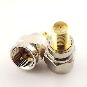 10x F Male Plug to RP-SMA Female Plug Center Straight RF Coax Adapter Connector