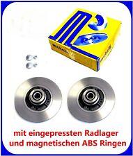 2x Bremsscheiben hinten m Radlager ABS Ring Renault Clio 3 Megane 2 Modus Twingo