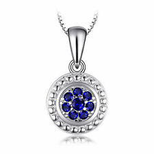 Blue Spinel Round Flower Pendant Necklace Sterling Silver Special Occassion