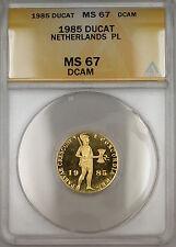 1985 Netherlands Ducat Gold Coin ANACS MS-67 DCAM PL Proof-Like GEM SB