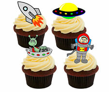 Astronauts & Aliens - Edible Cup Cake Toppers, Fairy Bun Decorations, Boy Space