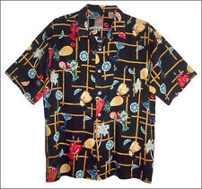 Men's ISLAND COLLECTION black rayon tropical cocktail Aloha shirt - size XL