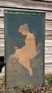 """Vintage Victorian Art Nouveau Painted Green Fireplace Screen Nude Fairy 52""""x 26"""""""