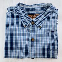 Duluth Trading Company Mens Long Sleeve Button Down Shirt Blue White Plaid 2XL