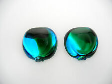 2 VINTAGE West German hand made cabochons 25mm Pomegranate 2-tone grn/blue #1 ii