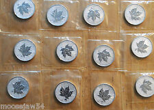 2004 Zodiac Series  -  12  One Oz Pure Silver Coins  -  Signs Of The Zodiac  RCM