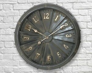 Giant 63cm Industrial Metal Iron Wall Clock Vintage Retro Home Large - FREE P+P