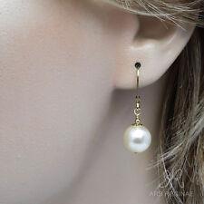 FLEXIBLER KLASSIKER ● 10mm ●  SC Perlen Ohrringe creme weiß ygf 14k Gold 585