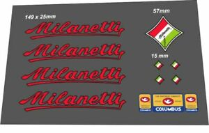 MILANETTI FRAME DECAL SET RED/BLACK OUTLINE
