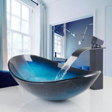 Blue Tempered Glass Vessel Bathroom Sink&Waterfall Faucet Pop Up Drain Combo Tap