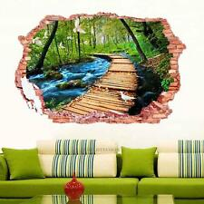 3D Bridge Stream Floor/Wall Sticker Removable Mural Decals PVC Art Decor 50X70cm