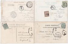 1903/06 4 PPCs TO & FROM UK & FRANCE WITH TAXE & POSTAGE DUE MARKINGS
