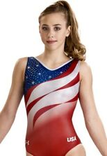 """Under Armour Gk Elite """"Go For The Gold� Usa Leotard Gymnastics Bling Ua Flag As"""