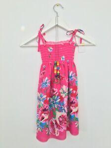 NEW Size 5-6 Years Girls Dress Fuschia Pink Floral Shirred Bodice Girls Dress