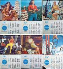 PAN AMERICAN AIRLINES CARGO CALENDAR 1967 Vintage 6 pages TRAVEL poster 25x45