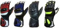 Motorcycle bike Sports Racing Cowhide Leather Long Carbon Sheild Knuckles Gloves
