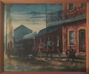 Russell Drysdale Moody's Pub 1941 Oil On Panel Print Vintage Australian Rare