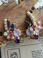 Juliana D&E pink and purple aurora borealis clip on rhinestone vintage earrings
