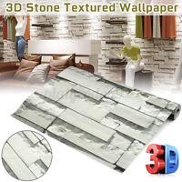 1/2/3/4 Roll 33x1.7FT 3D Wall Paper Brick Stone Rustic Effect Sticker Light Gray