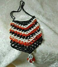 Vintage Beaded Purse Hand made Dainty Small Seed Beads Black, White & Orange