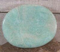 Carved Polished Amazonite Worry Stone Reiki Wicca Balance Communication 26058E