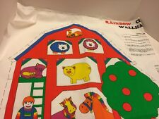 "Animal Farm Barn Panel Rainbow Cut & Paste Wall Hanging Fabric  36""X45"""