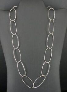 """Long open Oval Design Link Chain 24"""" Long Sterling Silver 925 Necklace"""