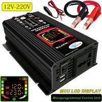 6000W Auto Power Inverter Converter DC 12V to AC 220V Car Sine Wave 2 USB NEW