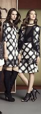NWT $368 BCBG Dorielle Career Holiday Pockets Off White And Plaid Dress S