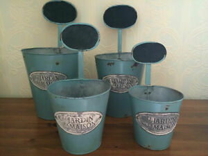 Shabby Chic Set of 4 Metal Painted Plant Pots with Chalkboard Labels