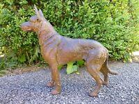 """Large Antique Cast Iron Hubley #380 German Shepherd Doorstop Statue 13"""" Long Dog"""