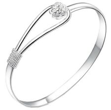 New Fashion Jewelry Women 925 Silver Vintage Rose Bangle Bracelet Cuff Love Gift