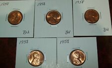 Lot of 5 BU Uncirculated 1958 Lincoln Wheat Cents Red Nice Coins